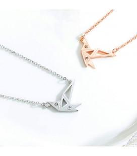 Origami kolibri nemesacél nyaklánc