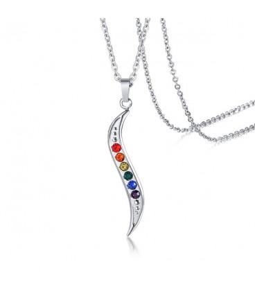Hullám medálos nemesacél nyaklánc, színes cz kövekkel