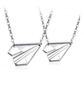 Origami repülők, páros nyaklánc szett nemesacélból - ezüst