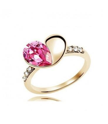 ékszer webshop Szívet formázó, nagy kristályos gyűrű