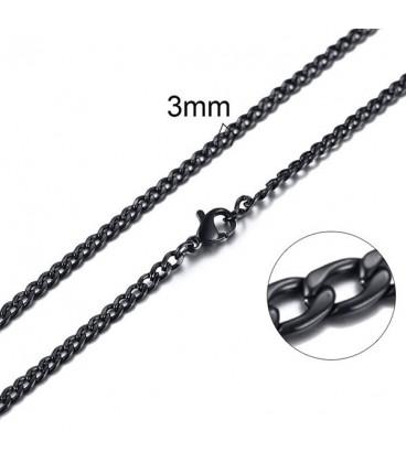 Lapított láncszemes nemesacél nyaklánc (60 cm - 3 mm) - Fekete