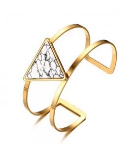 Nemesacél karperec háromszög dísszel, fehér türkiz kővel