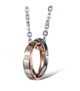 Igaz szerelem - nemesacél páros gyűrű medál és nyaklánc szett