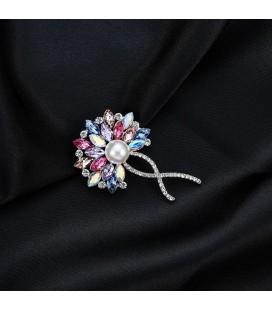 Bokréta, szivárvány kristályos-gyöngyös bross