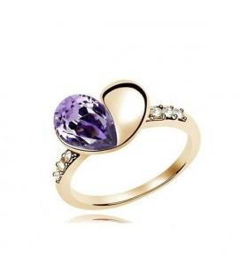 Szív formájú, nagy kristályokkal díszített gyűrű