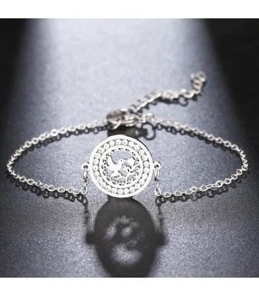 Galamb, kristályokkal díszített nemesacél karlánc
