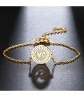 Galamb, kristályokkal díszített nemesacél karlánc - arany bevonattal