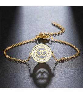 Dupla szív, kristályokkal díszített nemesacél karlánc - arany bevonattal