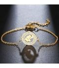 Elefánt, kristályokkal díszített nemesacél karlánc - arany bevonattal
