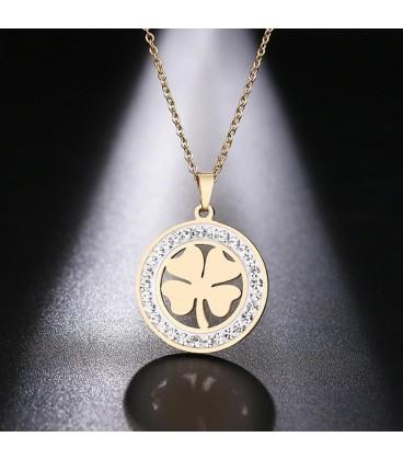 Kristályokkal díszített, nemesacél szerencse nyaklánc - arany bevonattal