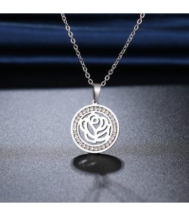 Rózsa, kristályos nemesacél nyaklánc
