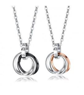 Nemesacél páros medál szett nyaklánccal - gyűrűk kristályokkal