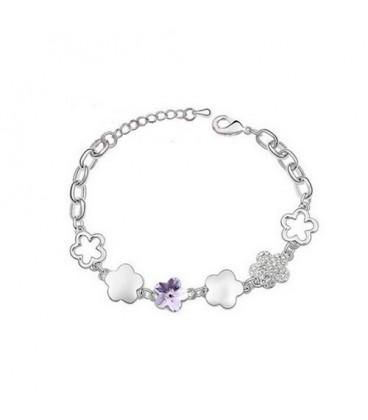 ékszer webshop Lila kristályvirág karkötő