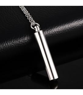 Gravírozható, nyitható henger alakú nemesacél medál nyaklánccal - 8 mm