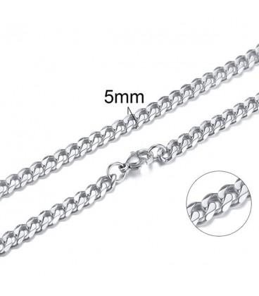Lapított láncszemes nemesacél nyaklánc (60 cm - 5 mm)