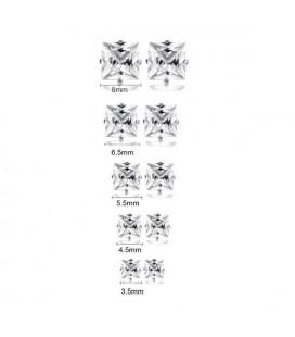 5 pár nemesacél fülbevaló fehér cirkónia kővel, különböző méretekben