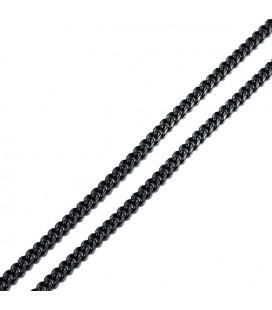 Sűrű láncszemes nemesacél nyaklánc (55 cm - 3 mm) - Fekete