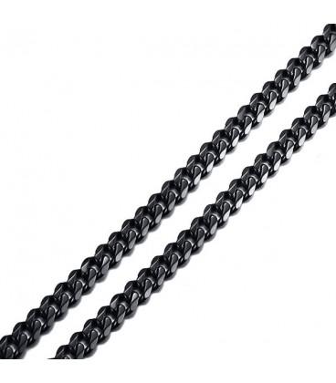 Sűrű láncszemes nemesacél nyaklánc (55 cm - 5 mm) - Fekete