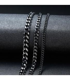 Sűrű láncszemes nemesacél nyaklánc (55 cm - 7 mm) - Fekete