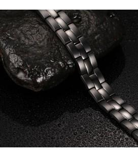 Nemesacél mágneses karkötő, germániummal - fekete színben