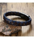 Kék-fekete bőr karkötő mágneses, nemesacél kapoccsal