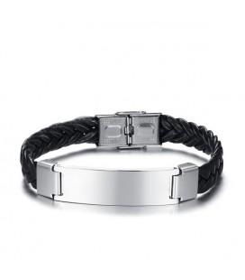 Fonott öko-bőr karkötő fekete színben, gravírozható elemmel
