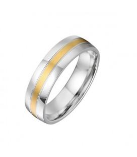 Egyedi kivitelezésű, arany sávos férfi nemesacél karikagyűrű