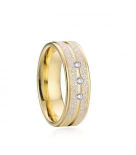 Csillogó szemcsés, női nemesacél karikagyűrű, cirkónia kövekkel
