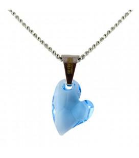 ékszer webshop Világoskék Swarovski kristályos szív nyaklánc
