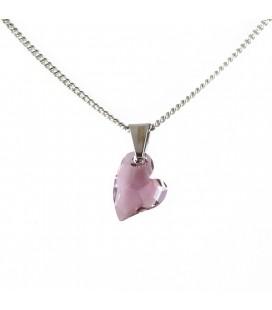 Lila Swarovski kristályos szív nyaklánc