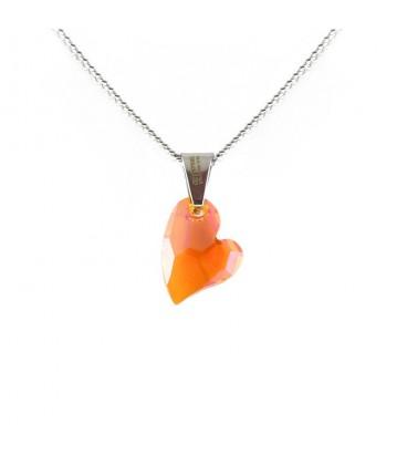 ékszer webshop Narancsszínű Swarovski kristályos szív nyaklánc