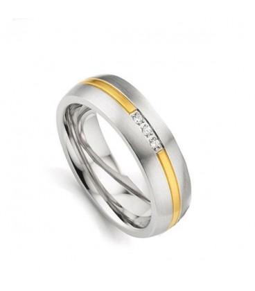 Cirkónia köves női titánium karikagyűrű, arany sávval