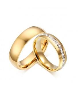 Kristálysoros nemesacél karikagyűrű arany bevonattal