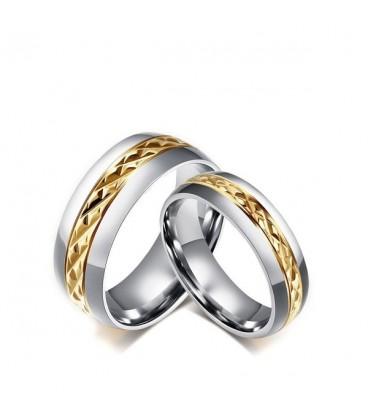 Arany sávos férfi nemesacél karikagyűrű, rombusz mintával