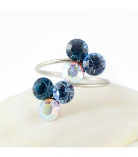Kék szeder nemesacél gyűrű, Swarovski kristályokkal