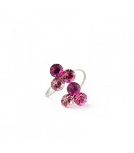 Pink szeder nemesacél gyűrű, Swarovski kristályokkal