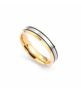 Fekete-ezüst sávos női nemesacél karikagyűrű
