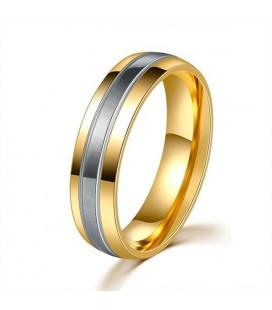 ékszer webshop 3 sávos, nemesacél férfi karikagyűrű arany