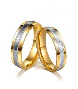 3 sávos, nemesacél női karikagyűrű arany bevonattal