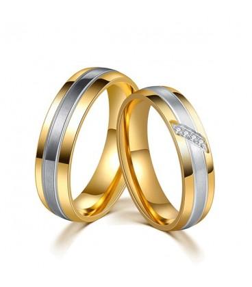 ékszer webshop 3 sávos, nemesacél női karikagyűrű arany