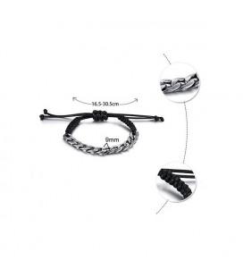 Nemesacél láncos, állítható méretű kötél karkötő -fekete,szürke