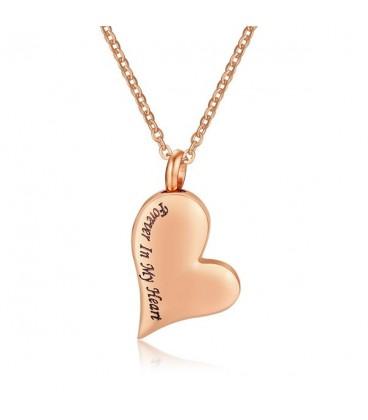 Szív alakú urna medál nyaklánccal, rozé arany bevonattal
