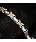 Nemesacél mágneses karkötő, szív alakú elemekkel - Arany-ezüst