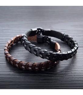 Fekete öko-bőr karkötő
