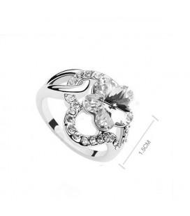 ékszer webshop Fehér kristályos virágos gyűrű