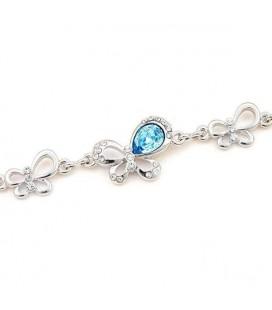 ékszer webshop Kék kristályos pillangós karkötő