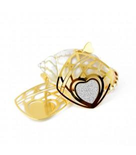 ékszer webshop Ezüstös szív mintával díszített nemesacél