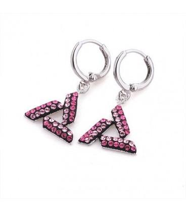 ékszer webshop Rózsaszín kristályokkal díszített háromszög