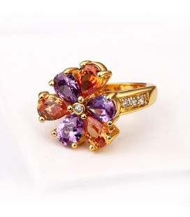 ékszer webshop Gold filled, színes cirkónia köves virág gyűrű