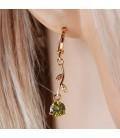 ékszer webshop Zöld cirkónia köves virág fülbevaló - gold filled
